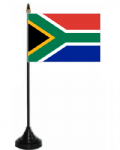 South Africa Desk / Table Flag with plastic stand and base.